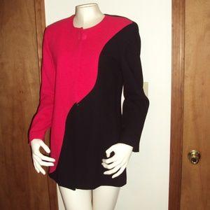 Vintage Fashion Red Black Casual Dress Suit Jacket